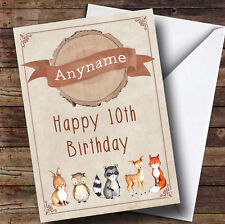 Cute Baby Woodland Animal Personalised Children's Birthday Card