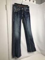 Rock Revival Women's Jeans Size 25 Maggie Boot Easy Denim Blue Jean Bling Pants