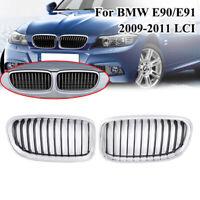 2× Front Kidney Grilles Grill For BMW E90 E91 Sedan 3 Series 09-11 Chrome+Black