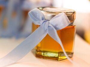 Mini Hexagonal Glass Jam Jars, 45ml, Packs 12-500, Wedding Favours, Honey, New*