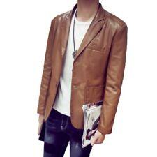 Hot Mens Long Sleeve Faux Leather Blazer Jacket Nightclub Leisure Slim Fit Coat