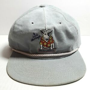 Bud Light Spuds Mackenzie Hat Party Animal 1985 Gray Corduroy Anheuser Busch