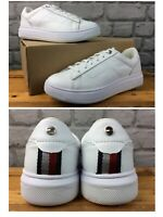 TOMMY HILFIGER LADIES UK 5 EU 38 WHITE LEATHER CUPSOLE TRAINERS RRP £105 *