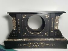 Rare Antique Black Slate Marble Mantel Clock housing, Decorative Gold Etching.