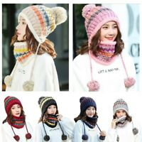 2Pc/Set Winter Warm Women Wooly Hat Scarf Knitted Woollen Beanie Ski Cap Thermal