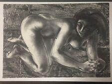 "Picasso Disciple & Listed Artist HANS ERNI #'d Lithograph Nude ""Squatting Woman"""