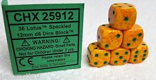 CHESSEX 12mm SPECKLED DICE BACK IN STOCK - LOTUS with GREEN PIPS! SMALL SIZE!