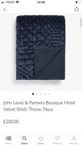 BNIP John Lewis Velvet Stitch Boutique Hotel Throw/Navy/RRP£200