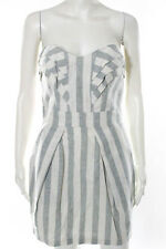 BCBGeneration Gray White Striped Linen Strapless Shift Dress Size 4