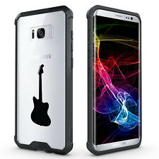 For Samsung Galaxy S7 Edge S8 + Clear Shockproof Bumper Case Cover Bass Guitar