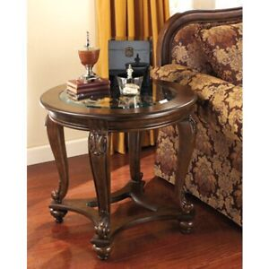 Norcastle Traditional Round End Table, Dark Brown