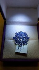 """AA Tanzanite """"Cocktail Cluster"""" 925 Sterling Silver Ring 4.80 Carets."""