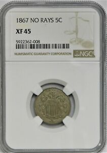 1867 No Rays Shield Nickel - NGC XF 45 !!