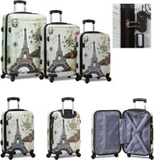 New Dejuno 3 Pcs Light Weight Hard Shell Spinner Upright Luggage Set - PARIS