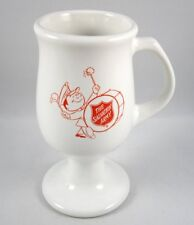 The Salvation Army Man with Bass Drum Coffee Mug Cup USA Footed Vintage HTF