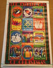 Vintage head shop poster 12 Days Of Christmas 1960's Celestial Arts Pin-up Lewis