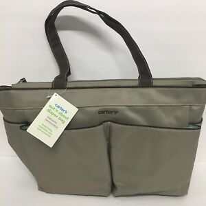 "Carters Unisex Diaper Bag Olive Grey W/Brown Handles & Teal Inside. Sz 16"" X 12"""