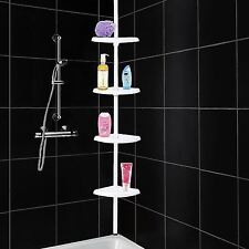 4 Tier Telescopic Adjustable Corner Bathroom Shelf Organiser Shower Caddy White