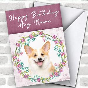 Welsh Corgi Dog Pink Floral Animal Personalized Birthday Card