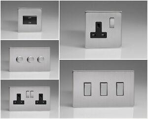 Varilight Screwless Brushed Steel Range - Black Inserts & Steel Switches