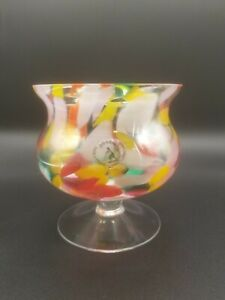 ZORZA Poland Handmade Art Glass Candle Holder Confetti Glass End of Day MCM