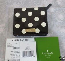 New Kate Spade Serenade Carlislie Leather Bifold Small Wallet Dots Black Cream