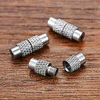 100Sets Column Brass Platinum Screw Clasps 12x4mm Fastener Cord End Caps