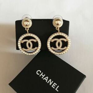 Chanel Earring Large CC Gold Round Pendant Earrings With Pearl