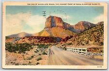 The End of Guadalupe Range the Highest Point in Texas Linen Postcard