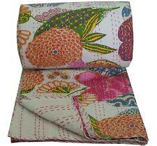 Indian Handmade Kantha Quilt Throw Reversible Bedspread Vintage Cotton Gudri