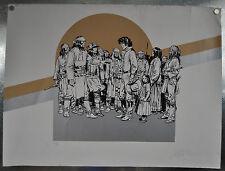 Jean Giraud Moebius Signed Print 23 x 30 Cowboys Indians