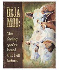 Wild Wings DeJa Moo Tin Sign by Caly Garris Cows