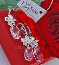 925 SILVER SET EARRINGS & PENDANT PEAR/ALMOND CLEAR CRYSTALS FROM SWAROVSKI®