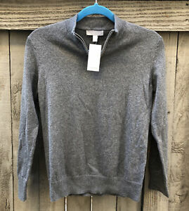 Nordstrom Boys Grey Charcoal Heather 1/4 Zip Cotton Blend Sweater, Sz 10/12 NWT