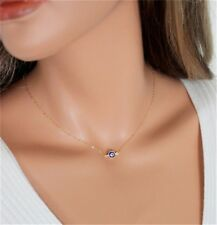 Gold or Silver Plated Blue Evil Eye Hamsa Turkish Charm Pendant Necklace N119