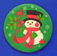 Hallmark BUTTON PIN Christmas Vintage SNOWMAN Holly CARDINAL Birds Holiday