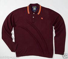 NEW Abercrombie & Fitch Men's Medium M Maroon/Orange 100% Cotton Polo Sweater