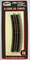 "Atlas N Code 55 Track 13.75"" RADIUS FULL CURVE Item #2016 (6pcs). New"