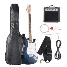 Goplus Full Size Blue/White Electric Guitar+10w AMP+Strap+Cord+Gigbag New