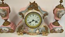 Antique Clock Set Sevres Mantle Marti Jacob Petit Hand Painted Porcelain Ormolu