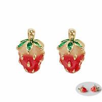 Betsey Enamel Studs Mini  Ear Earrings Strawberry Women Cute Stud Johnson Girls