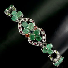 Unheated Oval Emerald Rhodolite Sapphire Gems 925 Sterling Silver Bracelet 7.5in