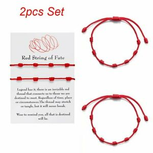 2pcs Lucky Red String bracelet Kabbalah Amulet 7 Knots Protection Rope Gifts New