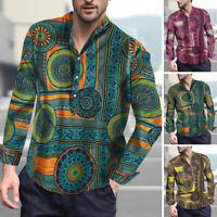 Retro Men Long Sleeve Shirt Floral Party Hippy Collarless Shirt Blouse Tee Tops