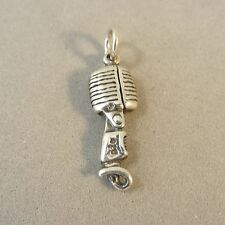 .925 Sterling Silver 3-D RADIO MICROPHONE CHARM Old Style Pendant 925 NEW MC26