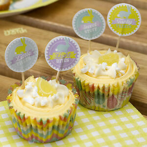 20 CUPCAKE PICKS HAPPY EASTER  Food Flags Sandwich Sticks Cake Tea Party Buffet