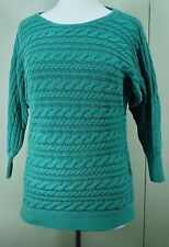 BANANA REPUBLIC Women's Dolman Sleeve Sweater - Green Cable Knit Cotton Medium