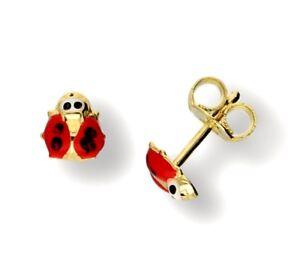 Echte 585 Gold KINDER-OHRSTECKER,  kleine Marienkäfer,  14 Karat Gelbgold, ETUI