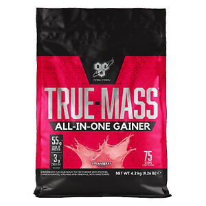 BSN True Mass 4.2kg All in One Whey Protein Powder Heavy Mass Gainer Strawberry