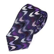 DUCHAMP Suave Arrow Stripe Navy Blue Purple Men's Silk Neck Tie